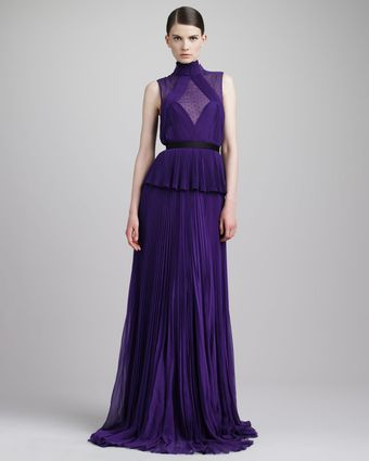 Jason Wu Swiss Dotinset Pleated Peplum Gown Violet - Lyst