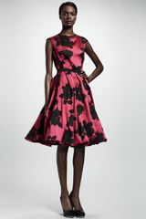 Lanvin Rose Cloque Inside-pleat Dress Fuchsia - Lyst