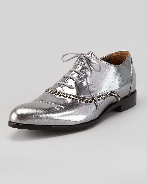 mens metallic silver dress shoes