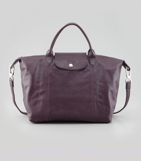 Longchamp Le Pliage Medium Leather Handbag Purple in Purple
