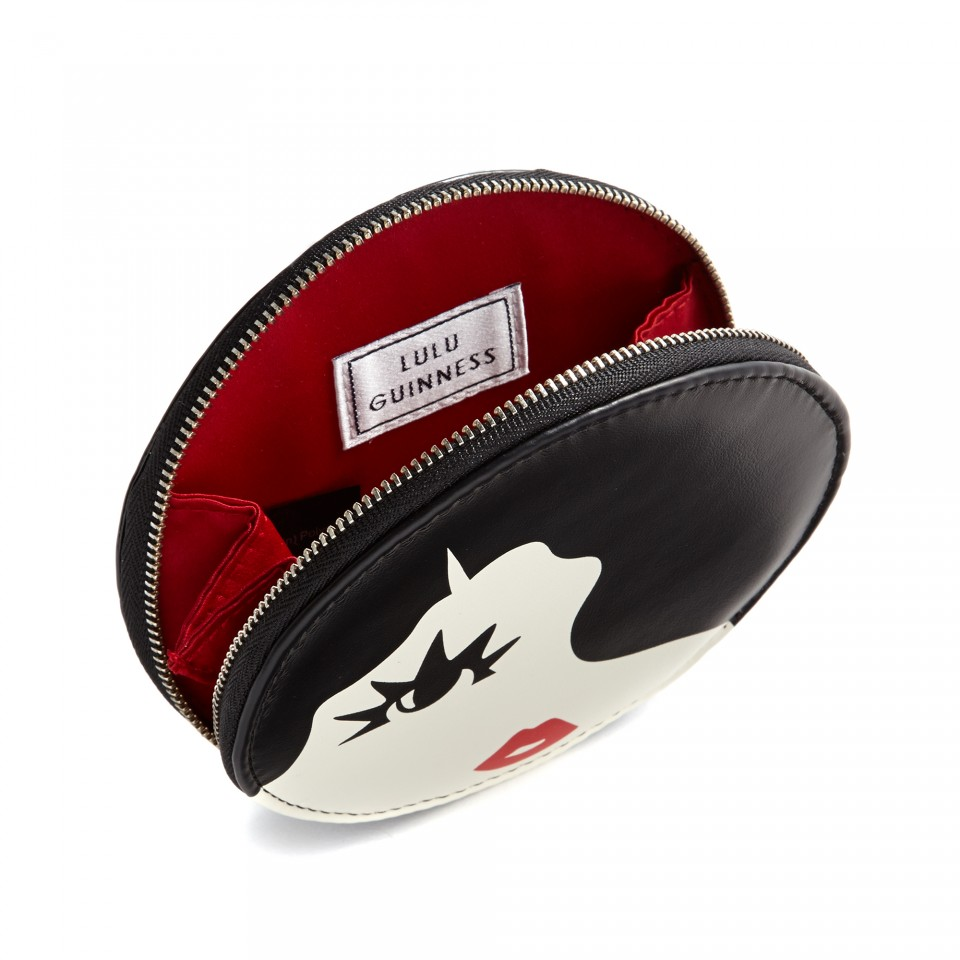 lulu guinness black and white marcel wave coin purse in