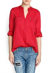 Mango Long Sleeved Cotton Blouse - Lyst