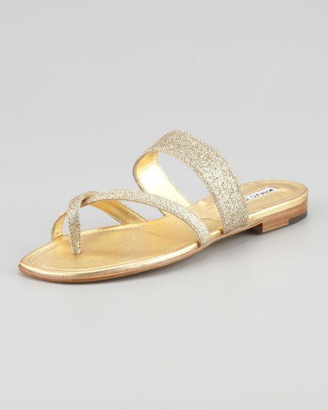 0b64cb17cd28 Manolo Blahnik Susa Flat Glitter Sandal Gold in Gold