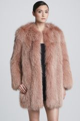 Marc Jacobs Collarless Fox Fur Coat Rose