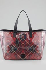 McQ by Alexander McQueen Eas-West Plaid Tote Bag, Red - Lyst