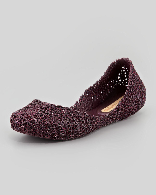 7cc6466aff14 Lyst - Melissa Campana Papel III Glitter Jelly Flats in Purple