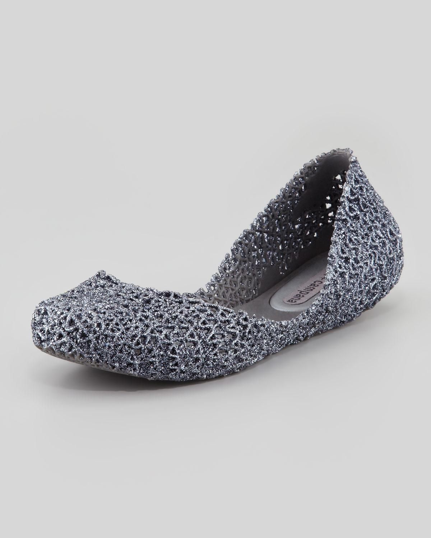 cfcd5e7b5bff Lyst - Melissa Melissa Campana Papel Iii Glitter Jelly Flats Gray in ...