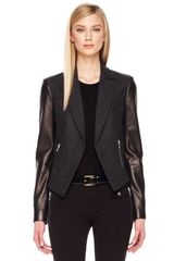 Michael Kors Leather Sleeve Blazer - Lyst