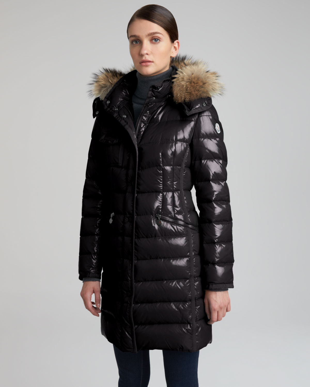 Moncler Fur Hooded Long Puffer Coat In Black Lyst