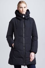 Moncler Long Puffer Coat with Hood Black - Lyst