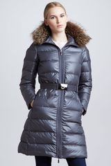 Moncler Long Puffer Coat with Furtrimmed Hood Charcoal - Lyst