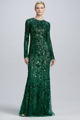 Monique Lhuillier Beaded Embroidered Long Sleeve Gown - Lyst