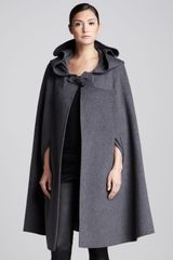 Oscar de la Renta Long Hooded Cape Anthracite - Lyst