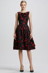 Oscar de la Renta Floral embroidered Full-skirt Dress Blackred - Lyst