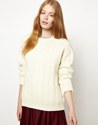 Peter Jensen Cable Knit Chunky Sweater in Geelong Wool - Lyst