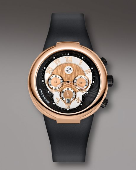Stein Rose: Philip Stein Rose Gold Chronograph Watch On Black Silicone