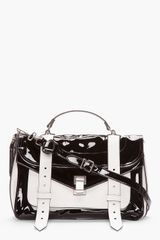 Proenza Schouler Medium Black Patent and White Matte Leather Ps1 Messenger Bag - Lyst