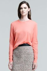Proenza Schouler Long Sleeve Crew Neck Sweater Electric Coral - Lyst