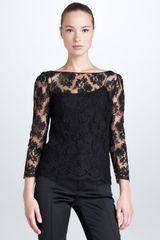 Ralph Lauren Black Label Rhys Scalloped Lace Top Black - Lyst