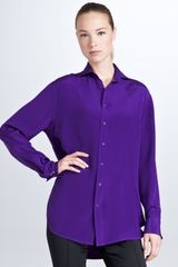 Ralph Lauren Black Label Margaret Long Sleeve Silk Shirt Royal Purple - Lyst
