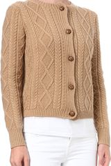 Ralph Lauren Cashmere-blend Cable-knit Cardigan - Lyst