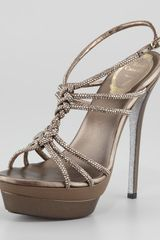 Rene Caovilla Twisted Crystal Platform Sandals Light Golden - Lyst