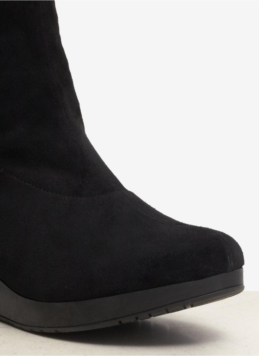 Robert Clergerie Suede Overknee Wedge Boots In Black Lyst