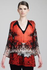 Roberto Cavalli Beaded Printed Caftan Top Red - Lyst