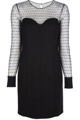 Saint Laurent Polkadot Double Layer Dress - Lyst