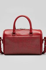 Saint Laurent 3 Hour Studded Crossbody Duffle Bag Red - Lyst