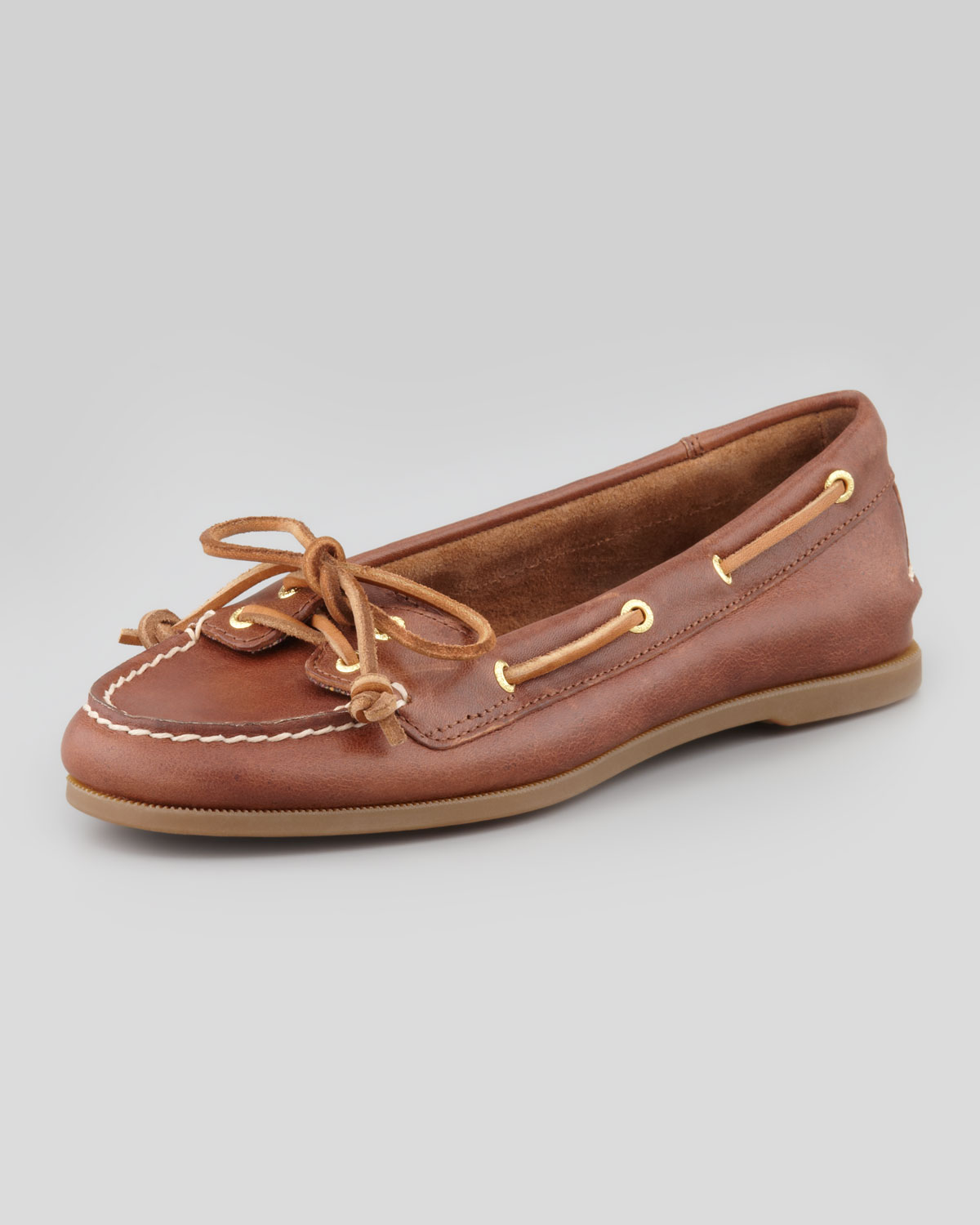 Lyst - Sperry Top-Sider Audrey Classic Leather Boat Shoe Tan in Brown 39d086a108