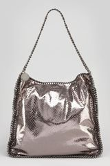 Stella McCartney Metallic Snakeembossed Hobo Bag Gray - Lyst