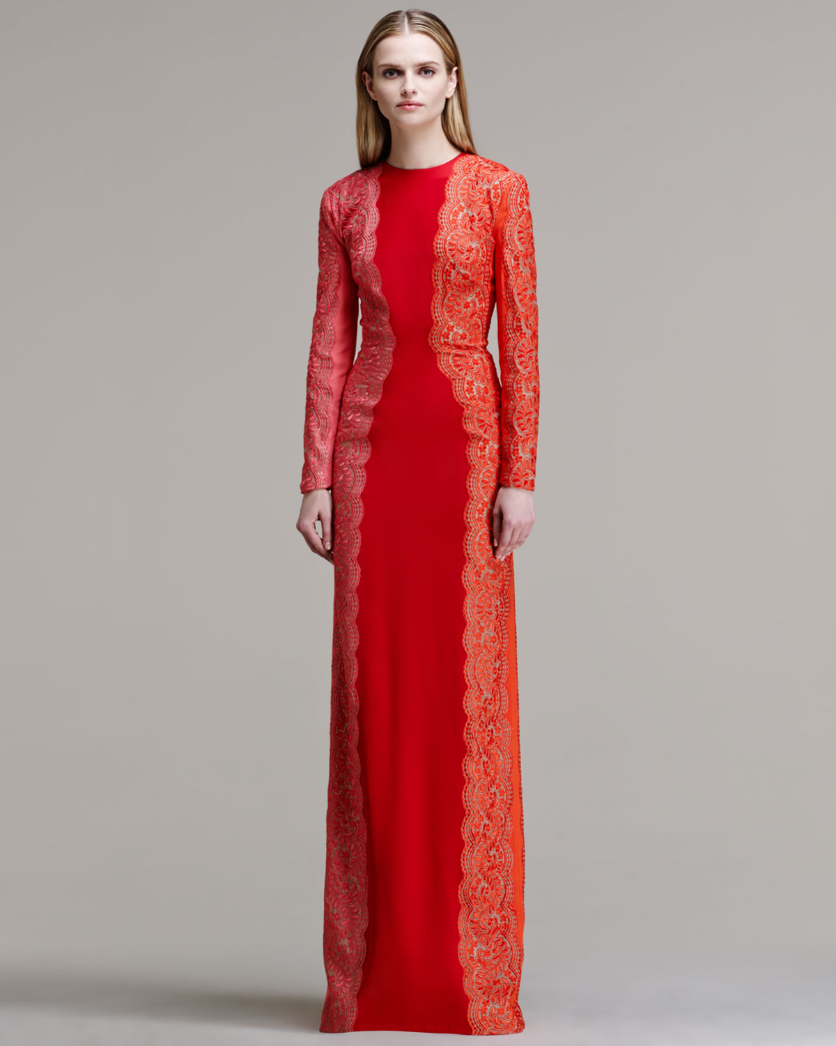 Lyst - Stella Mccartney Scallop-panel Lace Long-sleeve Gown ...