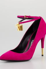 Tom Ford Padlock Ankle Wrap Suede Pump - Lyst