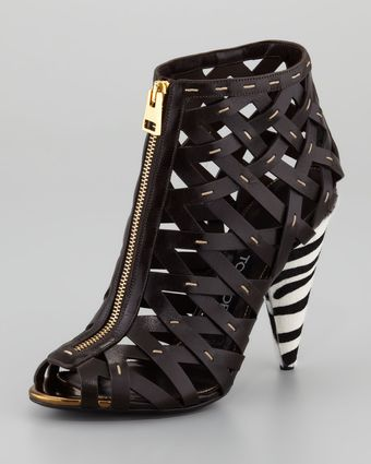 Tom Ford Handstitched Lattice Leather Bootie - Lyst