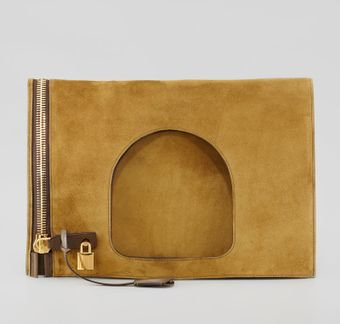 Tom Ford Alix Suede Padlock Zip Shoulder Bag - Lyst