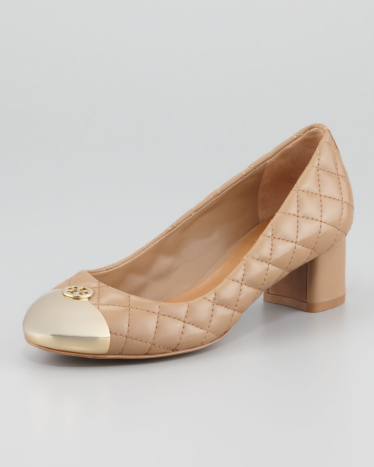 a3c5f5a7a20f Lyst - Tory Burch Kaitlin Quilted Captoe Pump Beige in Natural