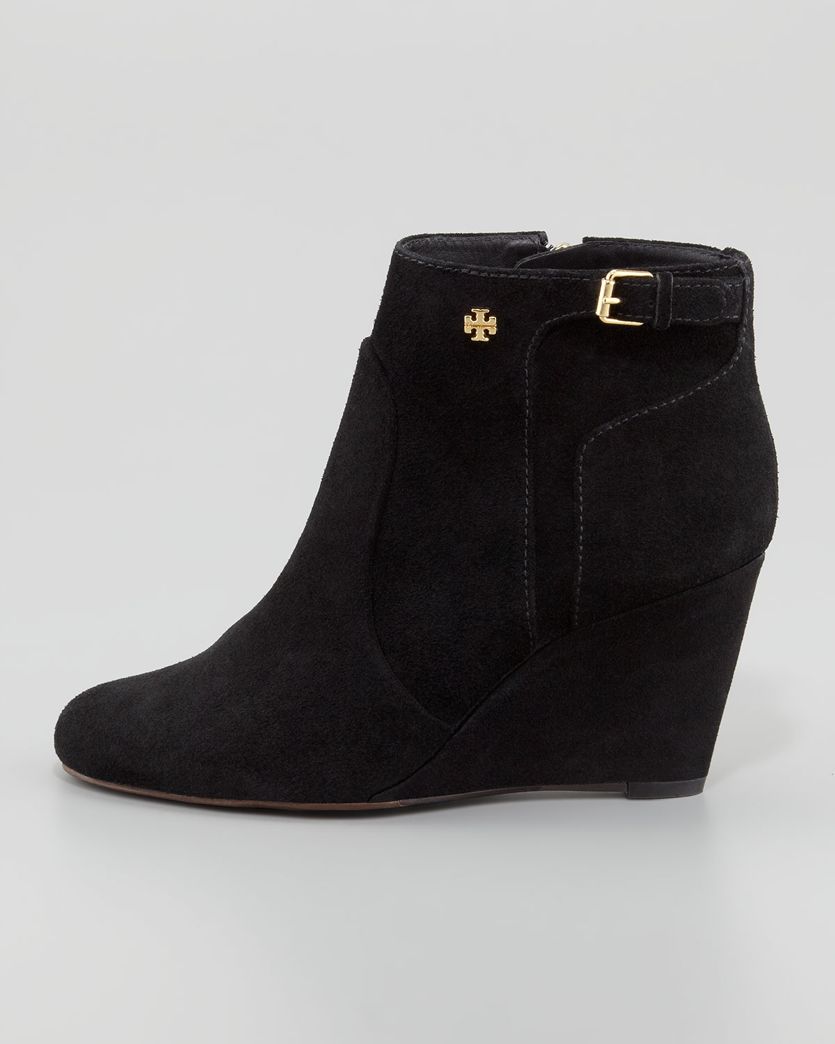 640d06e6962a0f Lyst - Tory Burch Milan Suede Wedge Bootie in Black