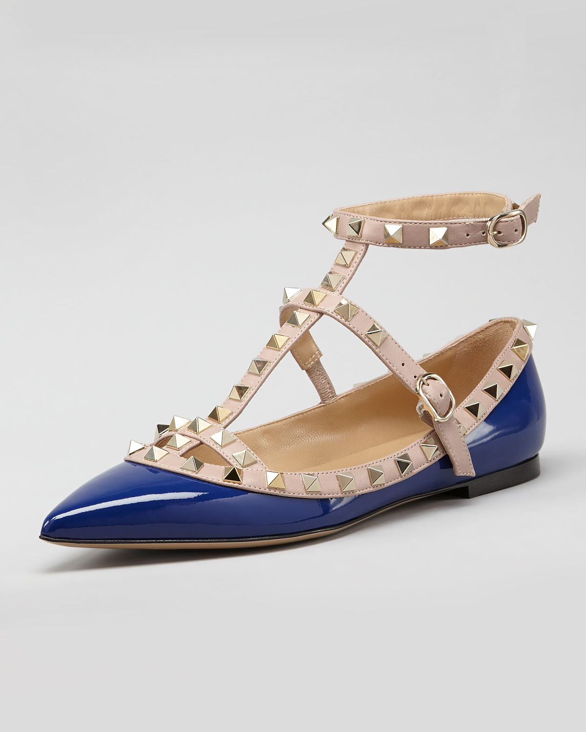 lyst valentino rockstud twotone gladiator ballerina flat bluepoudre in blue. Black Bedroom Furniture Sets. Home Design Ideas
