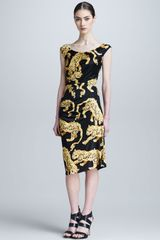 Versace Tiger Baroque Print Ruched Dress - Lyst