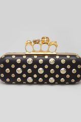 Alexander McQueen Studded Knuckleduster Clutch Bag Black - Lyst