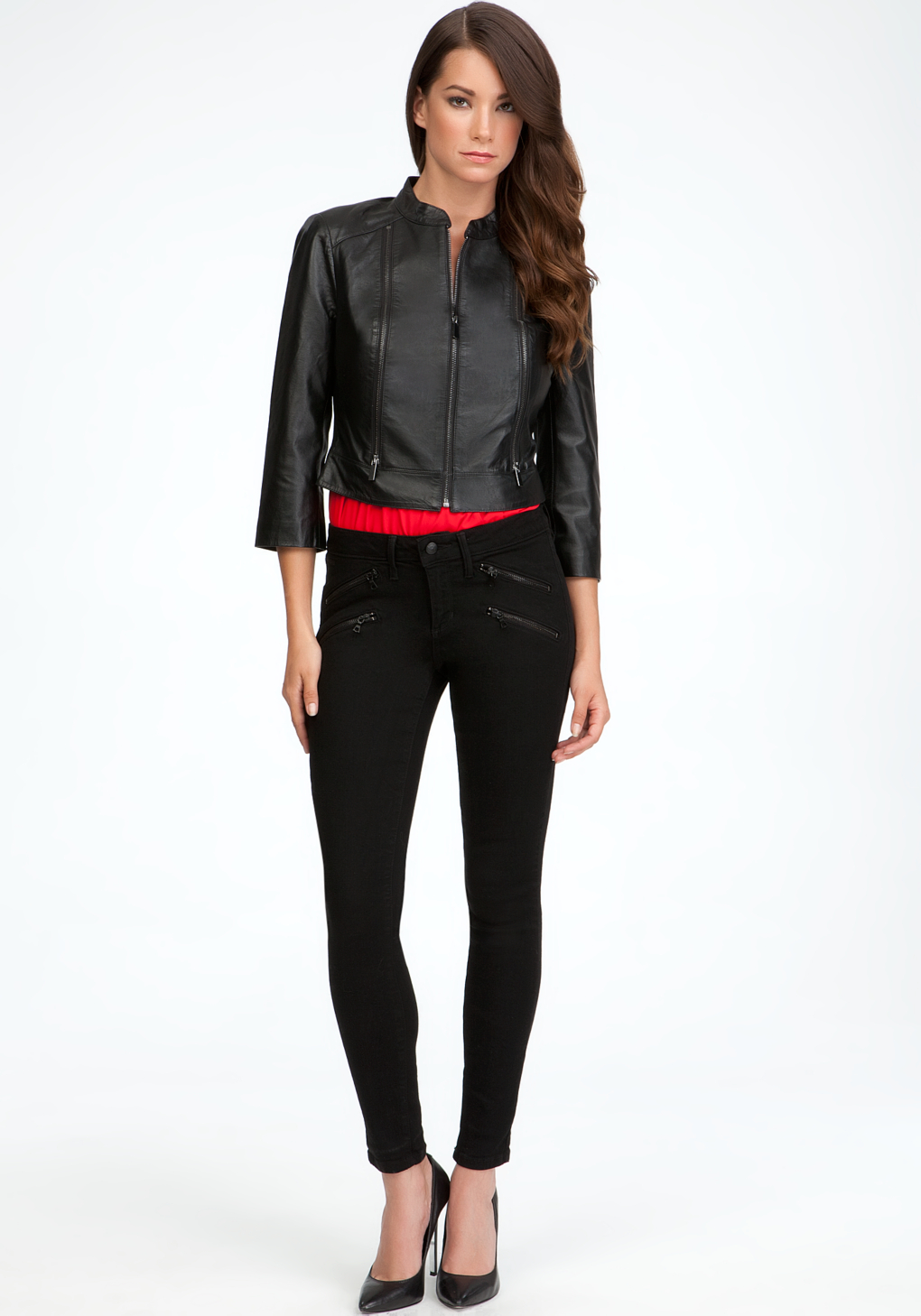 Bebe Cropped Leather Jacket In Black Lyst
