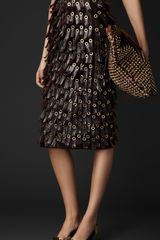 Burberry Fringed Eyelet Skirt - Lyst