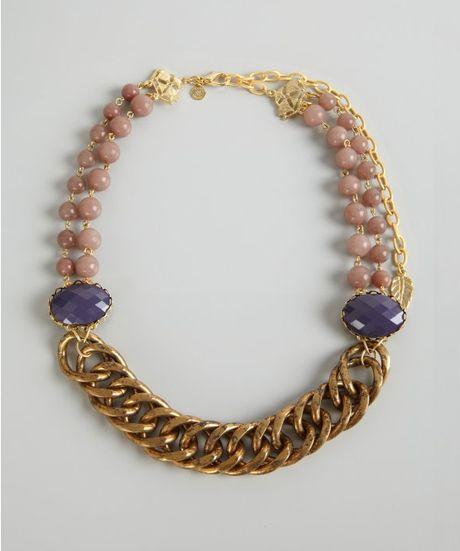 David Aubrey Purple And Pink Stone Vintage Chain Necklace