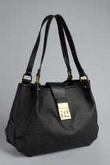 Fendi Black and Gold Zucchino Canvas and Leather Shoulder Bag - Lyst