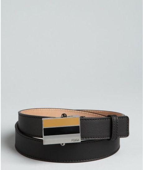 Fendi Black Leather Striped Enamel Sliding Buckle Belt in ... Black a6c31a074f014