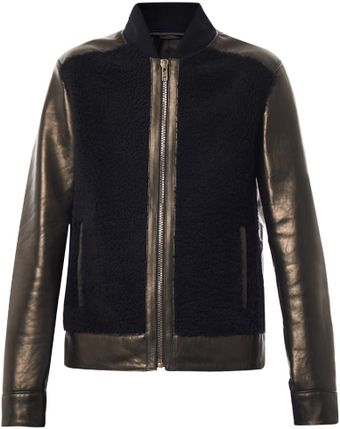 Givenchy Shearling Front Leather Bomber Jacket - Lyst