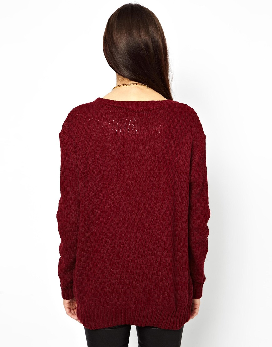 Lyst - Glamorous Cable Knit Jumper in Purple - photo#47