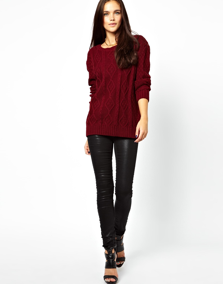 Lyst - Glamorous Cable Knit Jumper in Purple - photo#12