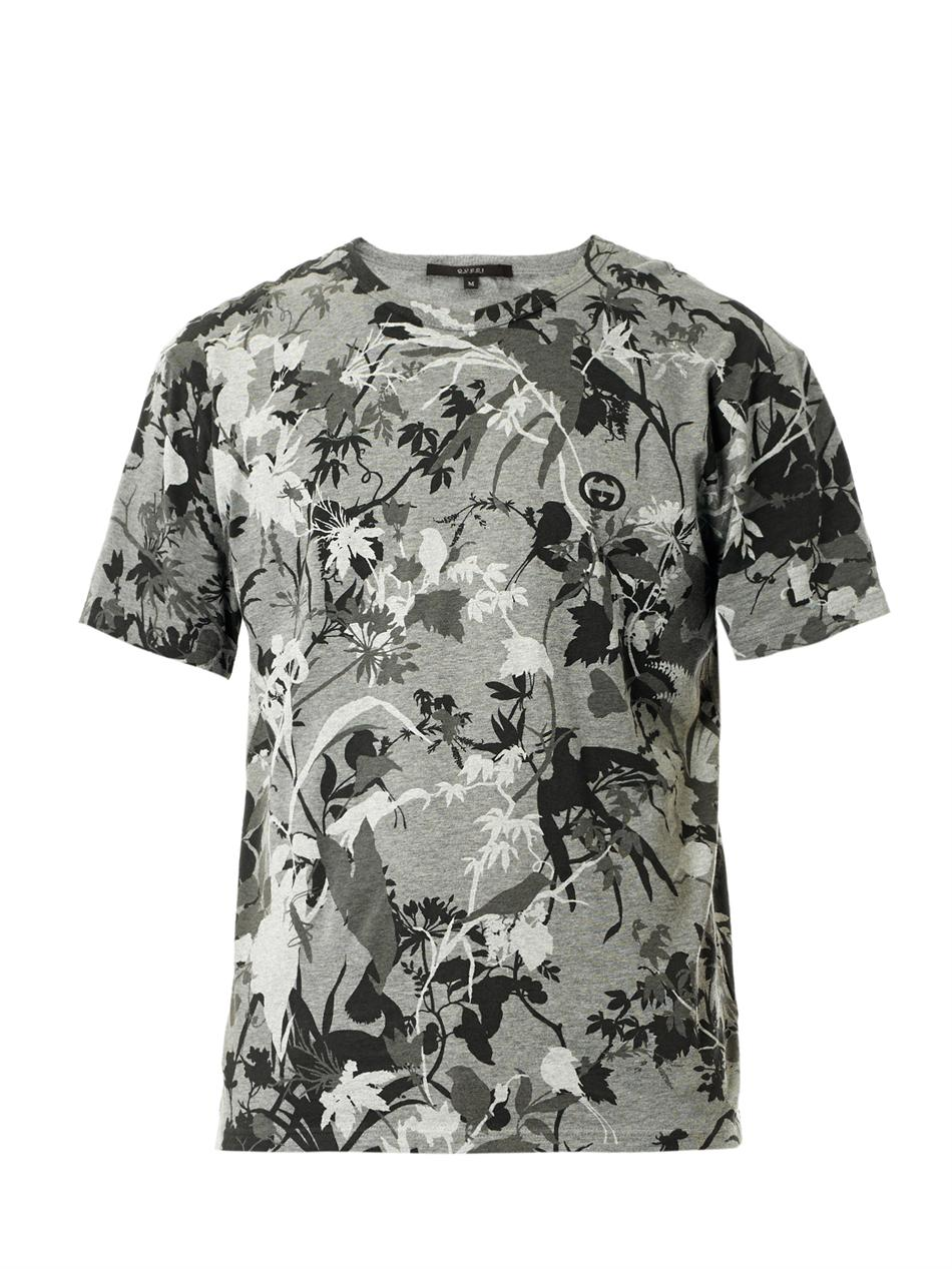 Lyst Gucci Botanical Print T Shirt In Gray For Men